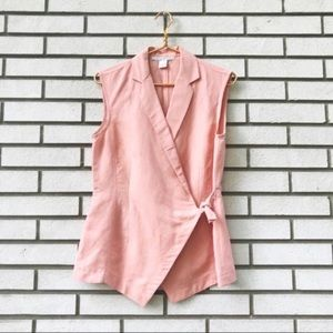 Vintage The Limited Linen Peach Wrap Tie Vest